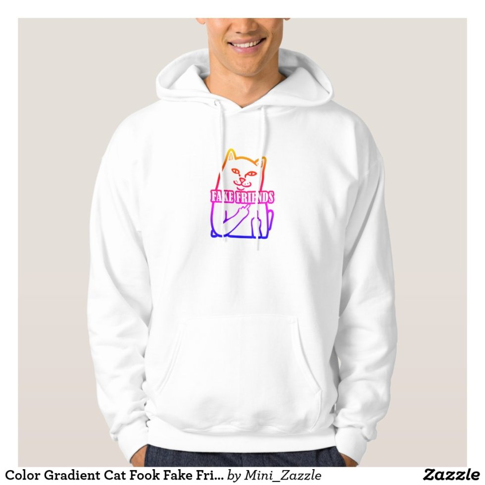 Color Gradient Cat Fuck Fake Friends Hoodie