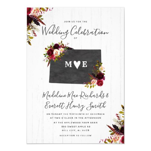 Colorado State Destination Wedding Invitation