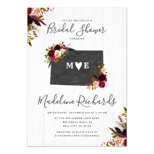 Colorado State Floral Bridal Shower Invitation
