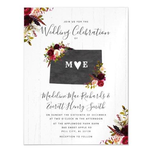 Colorado State Rustic Magnetic Wedding Invitation