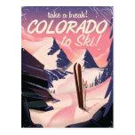 Colorado to Ski! Vintage travel poster Postcard