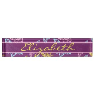Colorful Butterfly Personalize Pattern Desk Name Plate