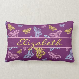 Colorful Butterfly Personalize Pattern Pillow