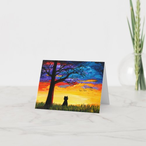 Colorful Cat Oak Tree Landscape Creationarts Card