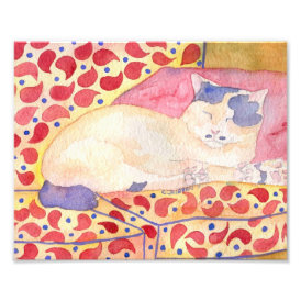 Colorful Cat on Sofa Art Print