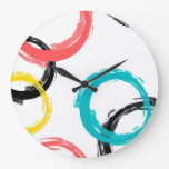 Colorful, cool, modern,trendy brush stroke circles large clock