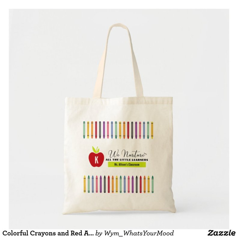 Colorful Crayons and Red Apple Primary Teacher Tote Bag