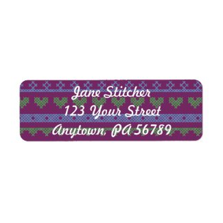 Colorful cross stitch sampler return address label