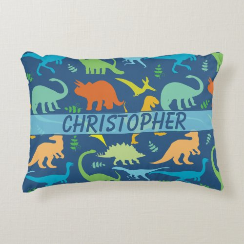Colorful Dinosaur Pattern to Personalize Accent Pillow