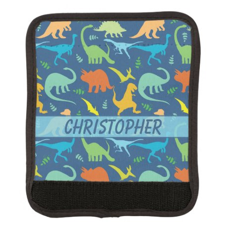 Colorful Dinosaur Pattern to Personalize Luggage Handle Wrap