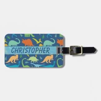 Colorful Dinosaur Pattern to Personalize Tag For Luggage