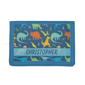 Colorful Dinosaur Pattern to Personalize Trifold Wallets