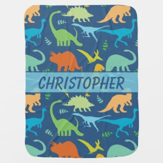 Colorful Dinosaur Pattern to Personalize Swaddle Blankets
