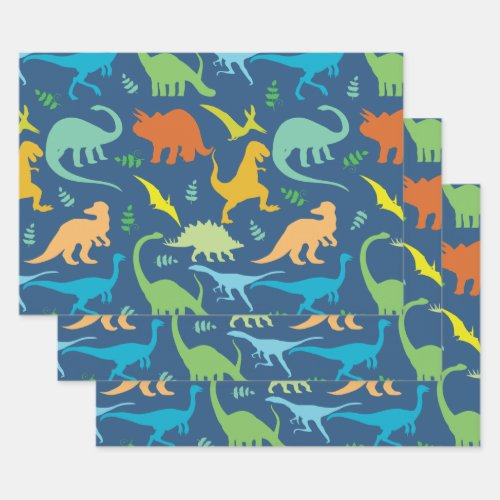 Colorful Dinosaurs Wrapping Paper Sheets