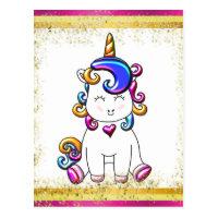 Colorful Glitter Pink Unicorn Postcard