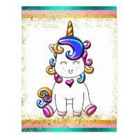 Colorful Glitter Unicorn Birthday Postcard