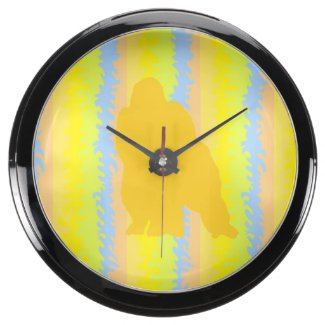 Colorful Gorilla Pattern Pop Art Aqua Clock