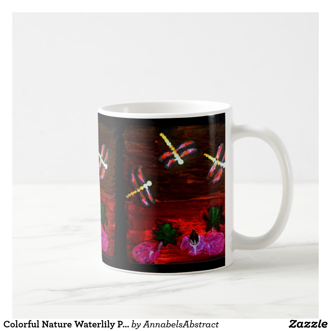 Colorful Lily Pond with Dragonflies Coffee Mug