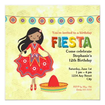Colorful Mexican Fiesta Kids Birthday Party Invitation