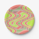 Colorful Mod Green Abstract pattern design 7 Inch Paper Plate