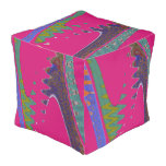 Colorful Mod pink abstract Cube Pouf