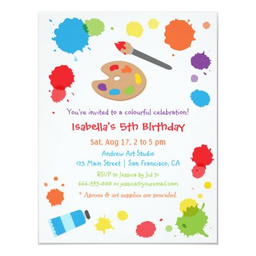 Colorful Paint Splats Painting Kids Birthday Party Invitation