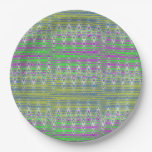 Colorful Pastel Zigzag Pattern Paper Plate