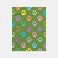 Colorful paw prints pattern fleece blanket