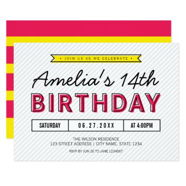 Colorful Pink and Yellow Any Age Modern Birthday Card