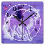 Colorful Purple Unicorn Decorative Square Wall Clock