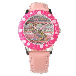 Colorful Rabbit Art Pink Heart Watch