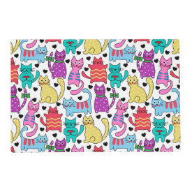 Colorful Retro Cat Feline Pattern Laminated Placemat