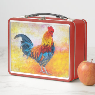Colorful Rooster Digital Art Painting Metal Lunch Box