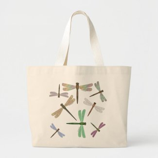 Colorful Steampunk Dragonflies Large Tote Bag - Click through to purchase