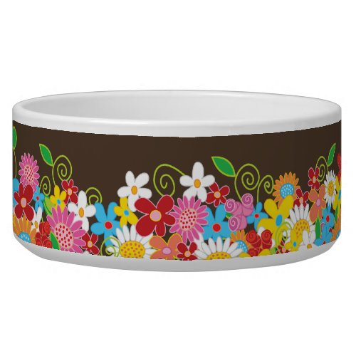Colorful Whimsical Spring Flowers Garden Pet Bowl petbowl