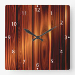 colorful wood texture varnished wood square wall clock
