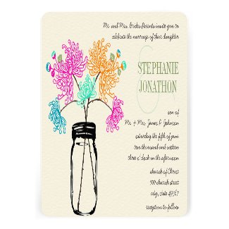 Colorful Zinnia Mason Jar Wild Flower Wedding Custom Announcements