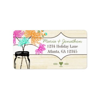Colorful Zinnia Mason Jar Wild Flower Wedding Personalized Address Label