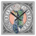 Comfy Lillie Kitten Square Wall Clocks