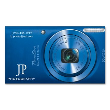 Compact Blue Digital Camera Photographer Magnetic Business Card
