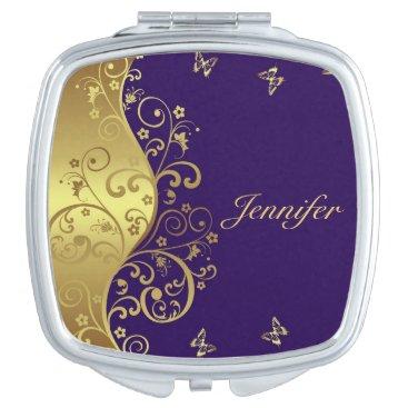 Compact Mirror-- Gold Swirls & Purple Compact Mirror