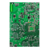 Computer Geek Circuit Board - green Posters