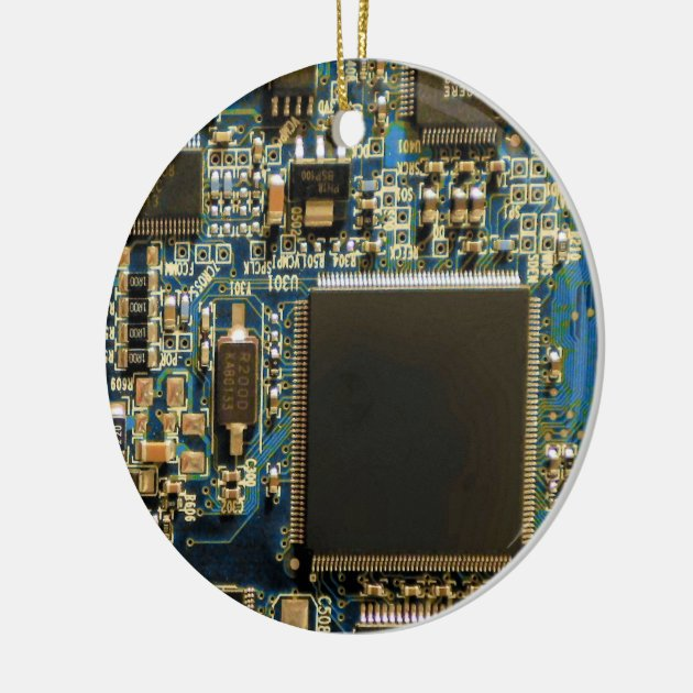 Computer Hard Drive Circuit Board Blue Ceramic Ornament