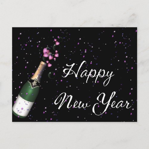 Confetti, Champagne Bottle Happy New Year Postcard