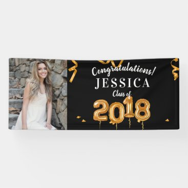 Congratulations Graduation Black/Gold Photo Banner