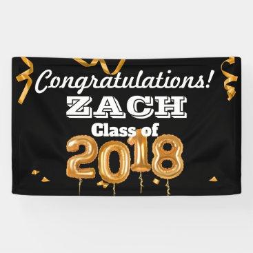 Congratulations Graduation Class Black/Gold Banner