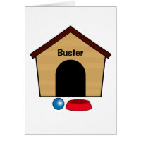 Congratulations Puppy Dog House Name Customizable Card