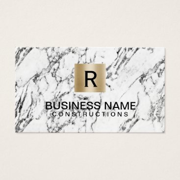 Construction Gold Monogram Logo Modern Marble Business Card