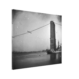 Construction of The Brooklyn Bridge Photograph Canvas Print