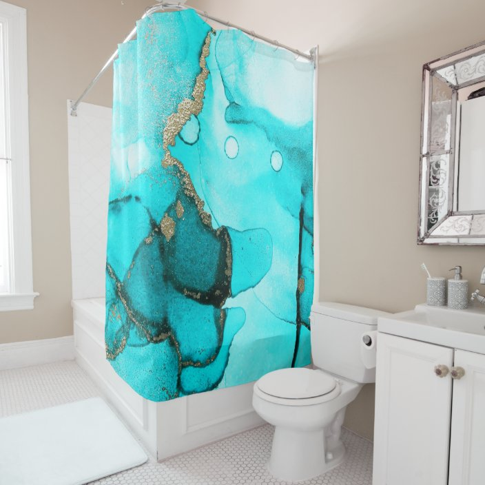 contemporary abstract turquoise gold shower curtain zazzle com